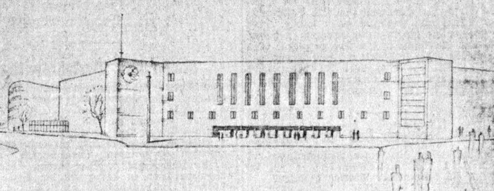 Entwurf des Schulneubaus der Architekten Pinno & Grund und Partner (Dortmunder Zeitung, 07.03.1929)