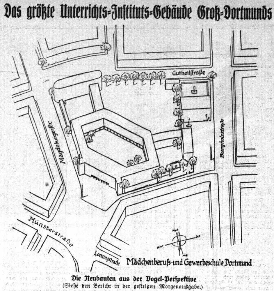 Lageplan zu einem Entwurf für den Schulneubau auf dem Lortzingplatz (Dortmunder Zeitung, 08.03.1929)