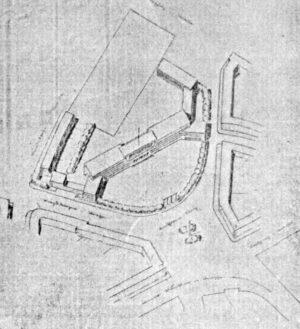 Mit dem 3. Preis ausgezeichneter Entwurf des Schulprojekts (Dortmunder Zeitung, 18.03.1929)
