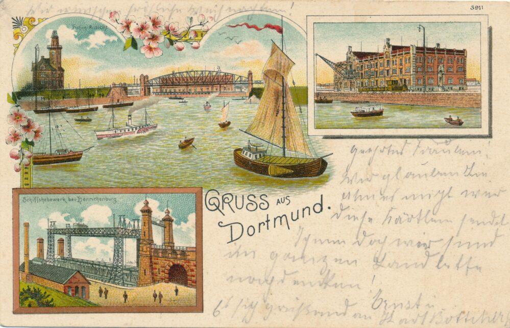 Der Dortmunder Hafen um 1900 (Slg. Klaus Winter)