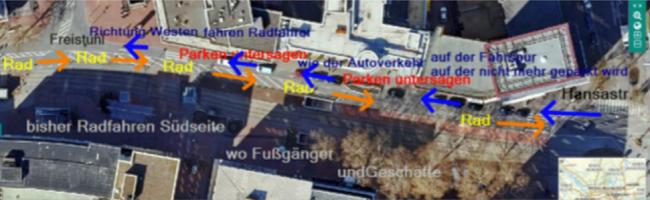 Umweltverbände schlagen Verbesserung für Radverkehr auf der Kampstraße vor – Antrag an BV Innenstadt-West