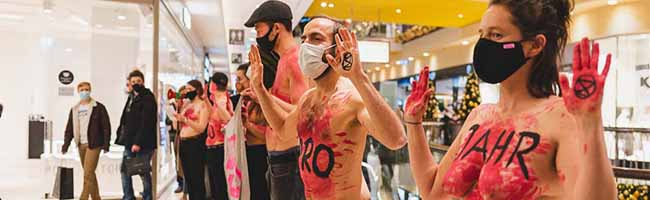 "Aktivist*innen von ""Extinction Rebellion"" stören Adventsshopping in der Thier-Galerie am ""Black Friday"""
