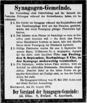 Anzeige der Synagogengemeinde Dortmund (Dortmunder Zeitung, 30.08.1893)