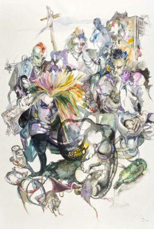 Zählt nicht uns, zählt Eure Tage, 1987 Aquarell und Kohle auf Papier, 149 x 99,3 cm © Kunststiftung Ruth Baumgarte, Foto: Ulrich Helweg