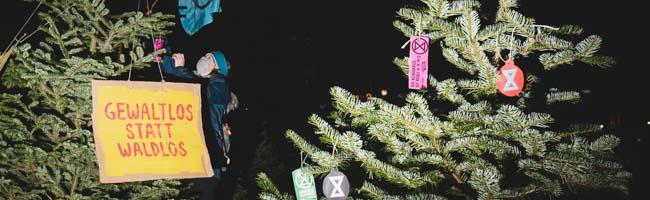 """EntsorgteWeihnachtsbäumefordern """"Wald statt Asphalt"""" in Dortmund – Umweltschutz-Aktion von """"Extinction Rebellion"""""""