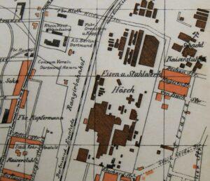 Die Verbindung der Siedlung Kaiserstuhl über die Oesterholzstraße gibt es nicht mehr. Stadtplan, 1915 (Sammlung Klaus Winter)