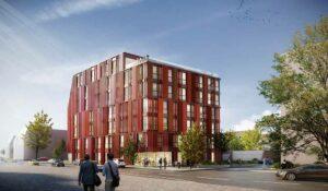 Städtebaulich orientiert sich das geplante Ensemble der Landmarken AG an den vorhandenen Strukturen, weshalb auch zwei unterschiedliche Baukörper entstehen. Visualisierung: kadawittfeldarchitektur