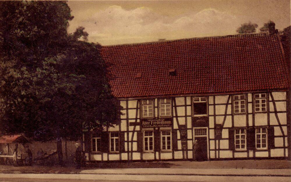 """""""Alter Fredenbaum"""" - Schröders Gastwirtschaft, Münsterstr. 272, 1925 (Sammlung Klaus Winter)"""