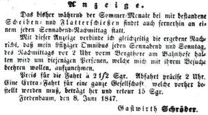 Anzeige mit Hinweis auf den Omnibus zum Fredenbaum (Dortmunder Anzeiger, 16.06.1847)