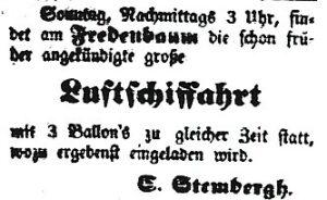 Luftschifffahrt am Fredenbaum 1848! (Dortmunder Anzeiger, 06.05.1848)