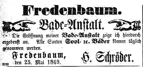 Anzeige zur Eröffnung der Badeanstalt am Fredenbaum (Dotmunder Anzeiger, 27.05.1869)