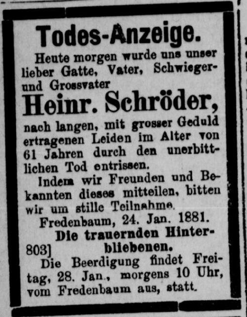 Todesanzeige Heinrich Schröder (II) (Dortmunder Zeitung 27.01.1881)