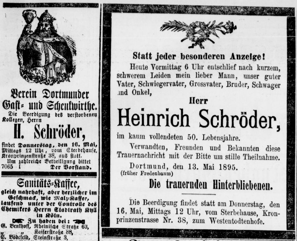 Todesanzeige Heinrich Schröder (III) (Dortmunder Zeitung 14.05.1895)
