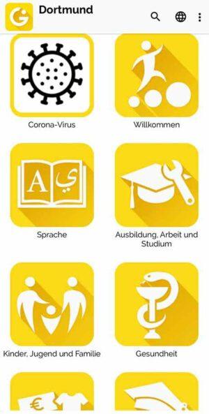 """So sieht die """"Integreat""""-App auf dem Handy aus."""