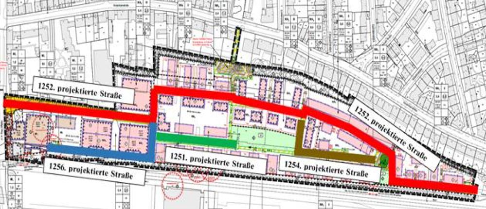 Insgesamt fünf neue Straßennamen für vier projektierte Straßen im Kronprinzenviertel wird es geben (Erklärung im Text). Karte: Stadt Dortmund