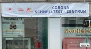 Überall in der Stadt sind Schnelltestzentren entstanden, wo man sich kostenlos auf Corona testen lassen kann. Foto: Alex Völkel