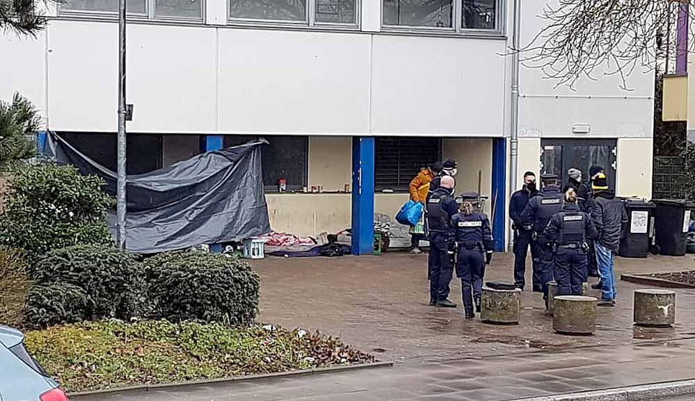 Ordnungsamt und Polizei erteilten den Obdachlosen Platzverweise. Fotos: privat