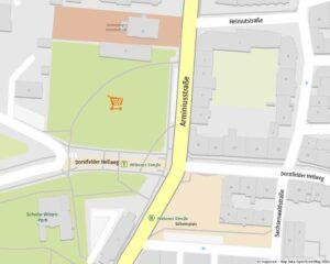 """Unweit des Wilhelmplatzes soll die zentrale Wiese mit einem """"Netto"""" bebaut werden. Karte: www.mapz.com"""