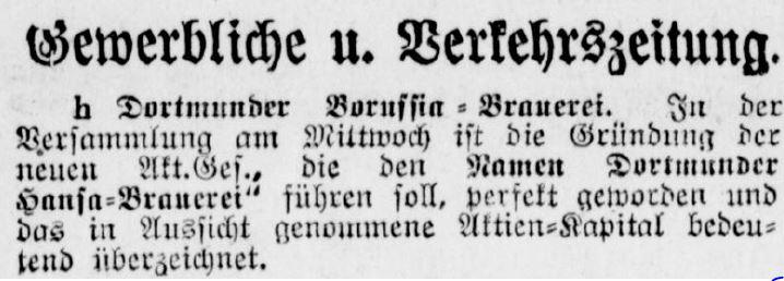 Zeitungsnotiz über die Gründung der Hansa-Brauerei (Dortmunder Zeitung, 14.12.1901)