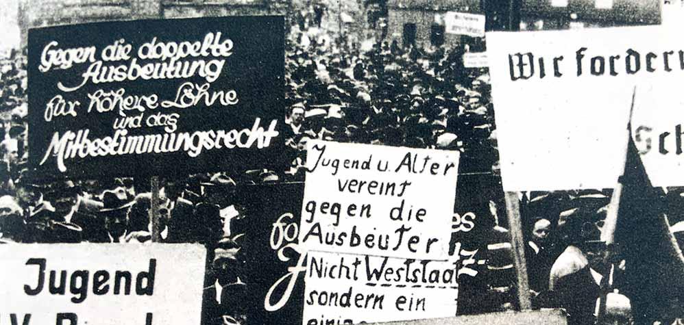 Im Kampf für mehr Mitbestimmung - ein Foto von der Mai-Kundgebung 1947 in Essen (AHGR, Fotoarchiv IGBCE)
