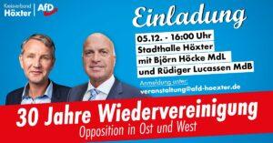 """Eine AfD-Veranstaltung, bei der NRW-Landeschef Rüdiger Lucassen mit dem """"Flügel""""-Obersten Björn Höcke auf der Bühne stand, sorgte für Verwerfungen. Bild: AfD"""