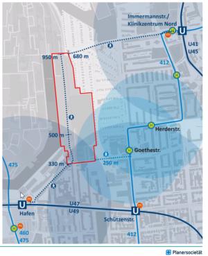 Bislang erschließt der ÖPNV das Quartier nur unzureichend. Karte: Planersocietät