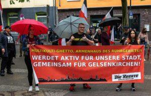 Besonders absurd: Die Nazis kommen mit einem Gelsenkirchen-Banner in die Nordstadt. Foto: David Peters