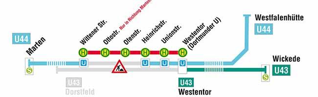 Gleisbau auf der Rheinischen Straße – Auswirkungen auf U43 und U44  – Ersatzverkehr mit Bussen am Wochenende
