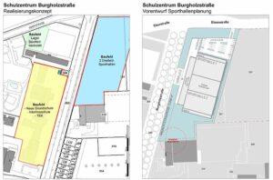 Auf dem bisherigen Gartengelände sollen bis 2023 zwei Dreifach-Sporthallen errichtet werden.