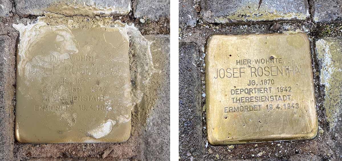 Immer wieder werden die Stolpersteine beschmiert oder beschädigt. In Dortmund kümmert sich der Jugendring um die Pflege.
