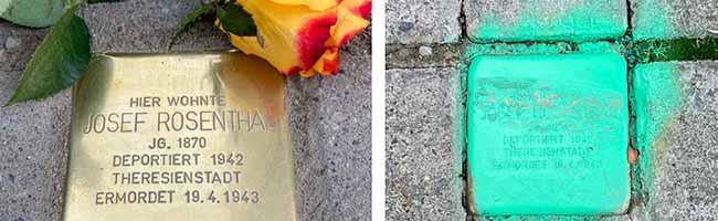 Immer wieder werden in Dorstfeld Stolpersteine beschmiert. Fotos: Quartiersdemokraten