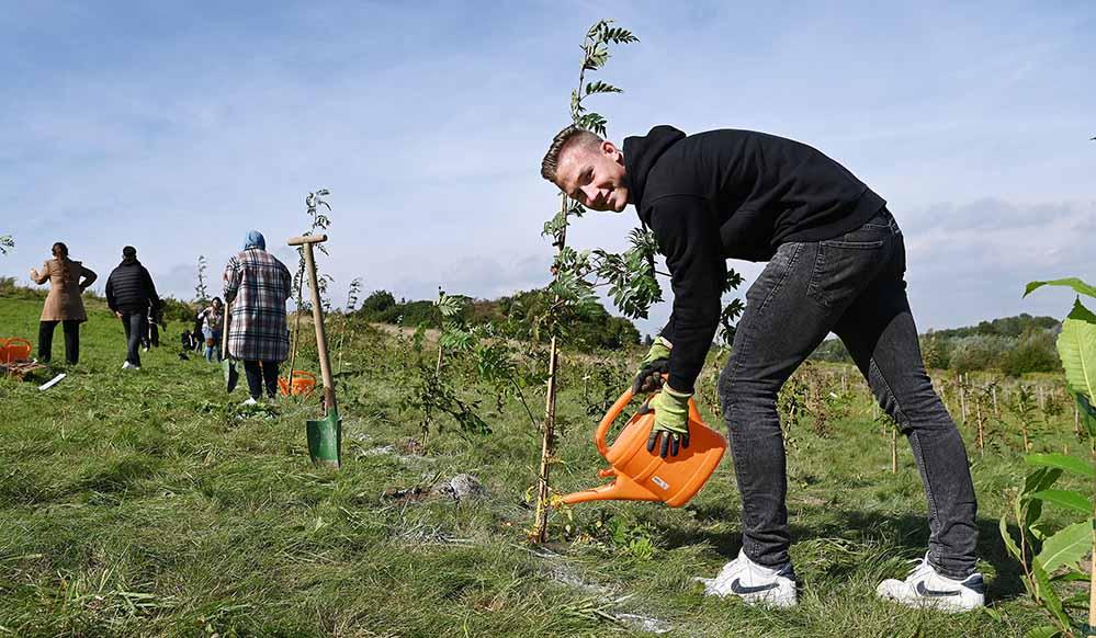 Architektur-Erstsemester Tom hat im ErstTree-Wald der FH Dortmund nun einen eigenen Baum.
